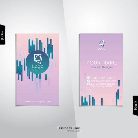 pinkish: Modern gradient pinkish purple business card with abstract vertical  blue pattern -  vector template