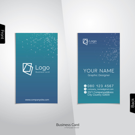 Modern vertical business card vector template - soft tone with light blue, and turquoise colors