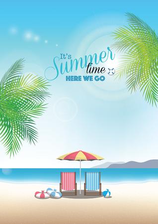 여름 해변 벡터 배경