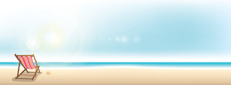 tropical beach panoramic: Colorful beach chair on the beach - summer holiday banner background with copy space