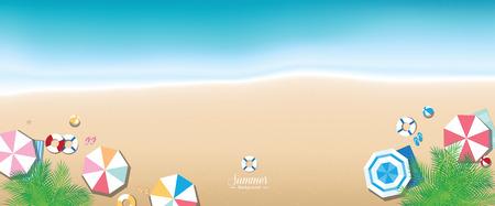 panoramic beach: Colorful summer beach panoramic (banner) background
