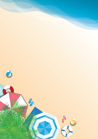 summer holiday: Colorful summer beach vector background - top view with copy space