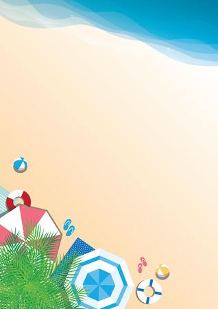 Kolorowe letnie tło wektor plaży - widok z góry z miejsca na kopię Ilustracje wektorowe