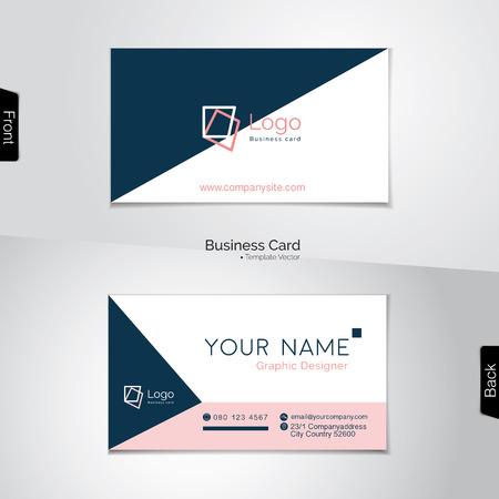 Simple blanco y rosa tarjeta de visita azul oscuro - vector de plantilla