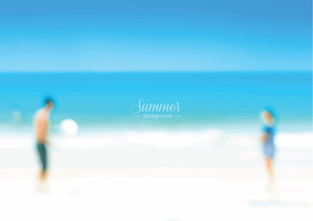 couple in summer: Blur couple playing at the beach - summer holiday background concept