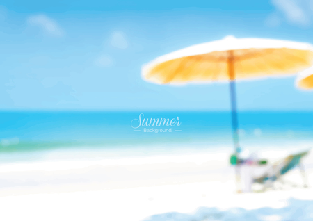 summer holiday: Blur beautiful summer beach with beach chair and umbrella - summer holiday background concept Illustration