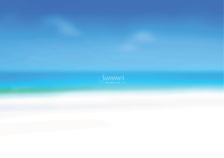 blur: Blur white sand beach and blue sea - summer holiday background concept Illustration