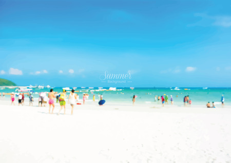 white sand beach: Blur white sand beach with people in colorful clothes - summer holiday background concept Illustration