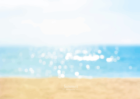 Summer beach with shiny sparkling sea water background Ilustração