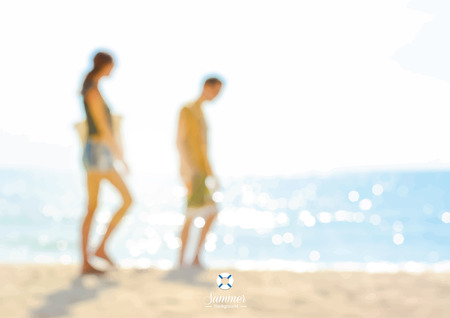 couple in summer: Blur couple walking at the beach - summer holiday background concept Illustration
