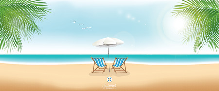 Beautiful summer beach with beach chairs and umbrella - panorama banner