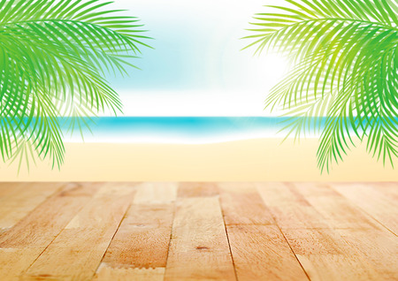 table top: Wood table top on beautiful summer beach illustration background