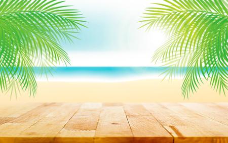 在美好的夏天海滩例证背景的木台式