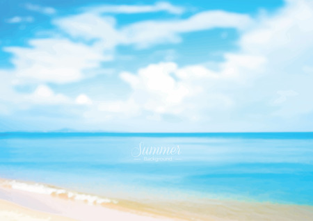 Beautiful summer beach with blue seawater background