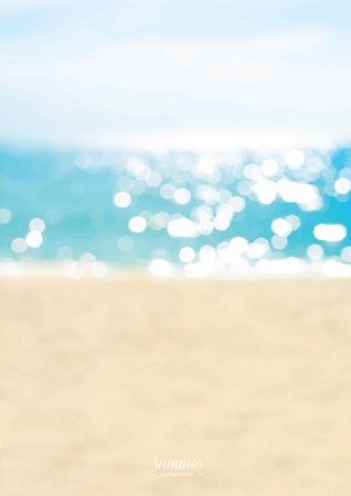 Blurred summer beach with sparkling seawater background