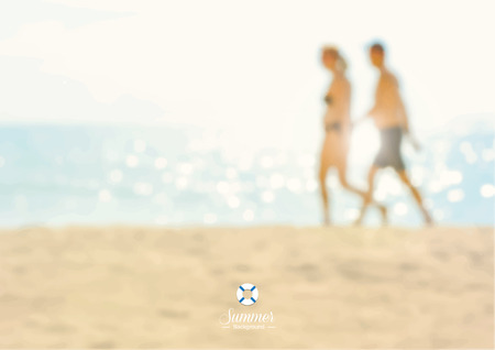 couple in summer: Blur couple walking on the beach - summer holiday  background concept