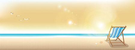 panoramic beach: Beautiful summer beach in twilight, panoramic banner background with copy space Illustration