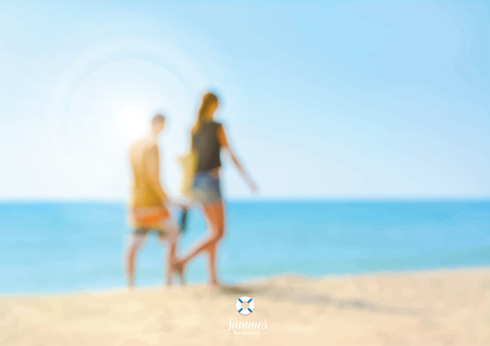 couple in summer: Blur couple walking on the beach - summer holiday vector background concept Illustration