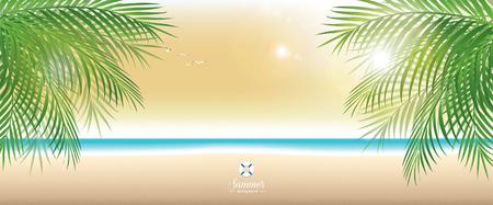 panoramic beach: Beautiful summer beach in twilight, panoramic banner vector background