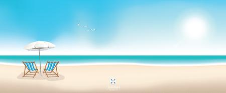 Beautiful summer beach panoramic banner vector background 일러스트