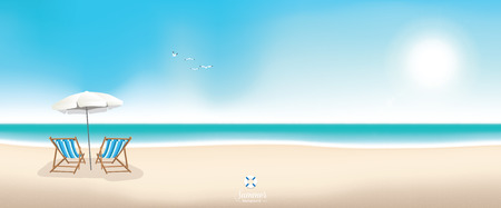 panoramic sky: Beautiful summer beach panoramic banner vector background Illustration