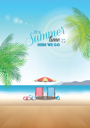 time table: Beautiful summer beach with wood table top for display or montage your products - vector background