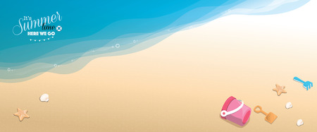 tropical beach panoramic: Panoramic banner beach vector background - top view