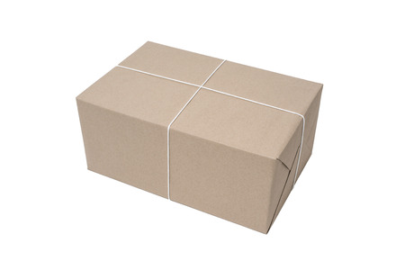 pack string: Parcel box wrapped with brown paper isolated on white background