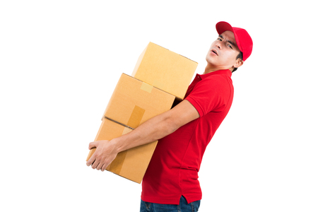 deliverer: Delivery man carrying heavy boxes, on white background