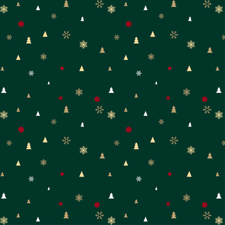 Green Christmas pattern for background or gift wrapping paper Vectores