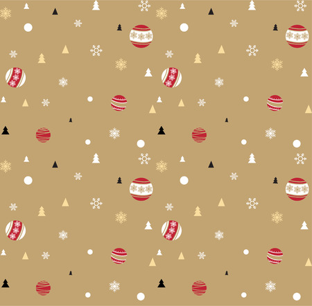 light brown background: Christmas ornament random pattern on light brown background for gift wrapping paper