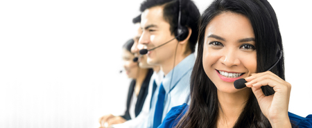 telemarketer: Smiling Asian call center (or telemarketer) team, panoramic banner