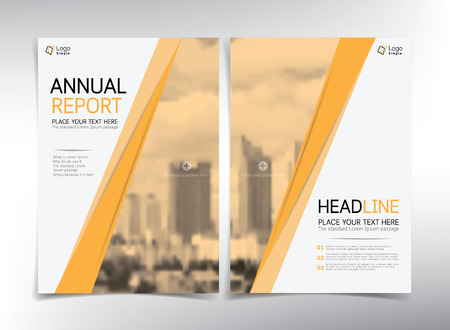 cover page: Modern business cover page, vector template, yellow and white theme - can be used for annual report, flyer, brochure, leaflet and more Illustration