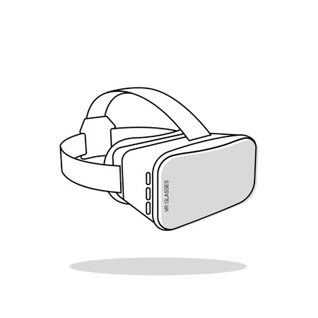 Virtual reality (or VR) glasses outline vector icon