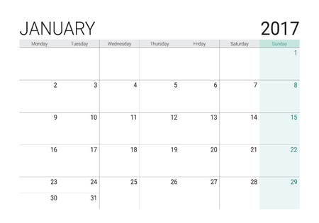 weekly planner: 2017 January calendar (or desk planner), week start on Monday