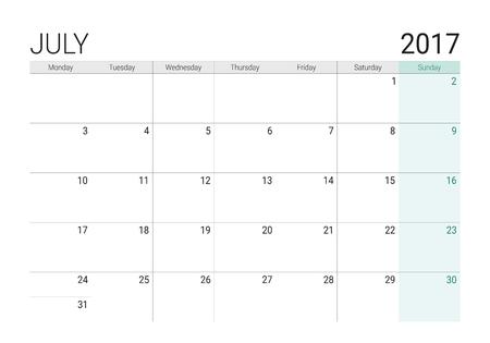 calendario julio: 2017 July calendar (or desk planner), week start on Monday
