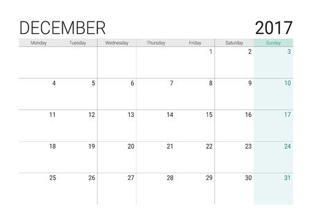 monthly planner: 2017 December calendar (or desk planner), week start on Monday Illustration