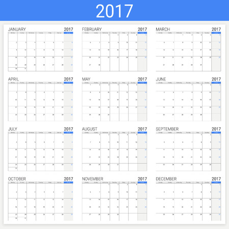 12: 2017 calendar (or desk planner), 12 month set