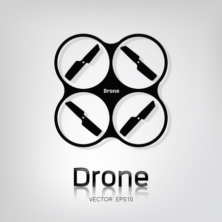 remote view: Drone vector icon, top view on light gray background