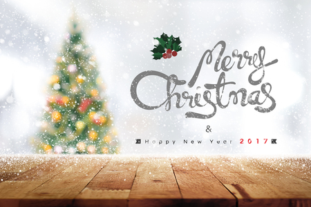 messages: Wood table top for background, Christmas and new year 2017 theme - can be used for display or montage your products