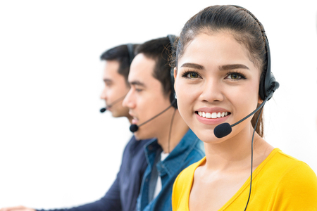 Smiling casual  woman working in call center Stock Photo