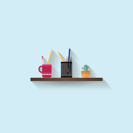 colour pencil: Stationery and small cactus on wood shelf in pastel blue background
