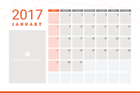 january: January 2017 calendar with space for picture