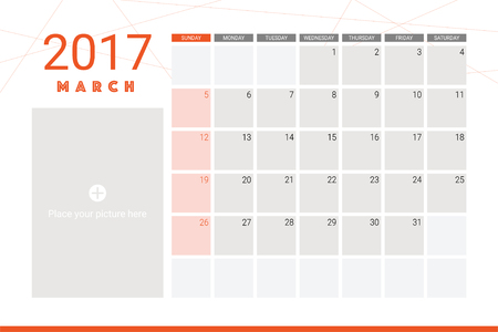 calender: March 2017 calendar with space for picture