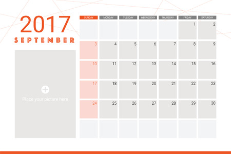 sep: September 2017 calendar with space for picture Illustration