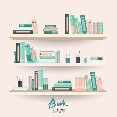 magazine stack: Bookshelves with books and stationery on pastel pink wall background