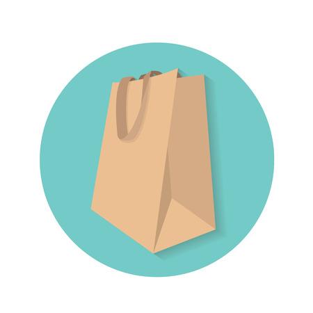 shopping bag: Reusable paper shopping bag vector icon on light green circle