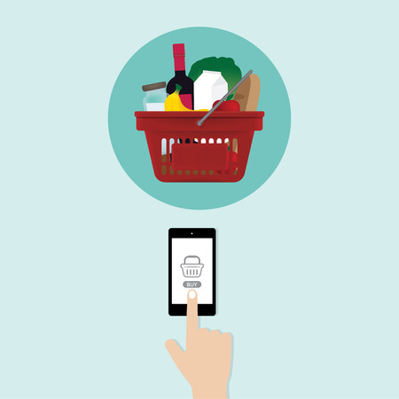 smartphone in hand: Hand touching smartphone screen shopping food (grocery) online Illustration