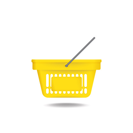 commercial sign: Yellow shopping basket vector icon on white background