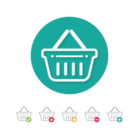 Shopping basket icon set with buy, add, remove and favorite signs Vetores